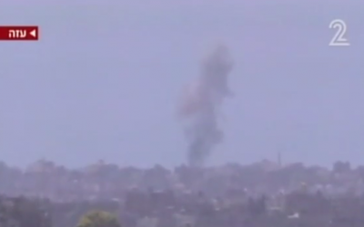 IDF firing upon targets in the Gaza Strip. (Screen capture: Channel 2)