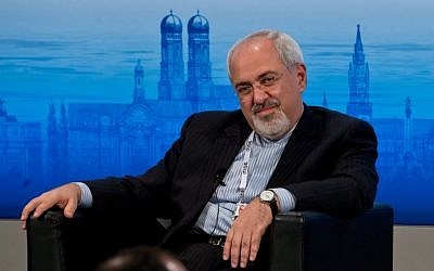 Iran's foreign minister, Javad Zarif, attends a panel discussion during the 50th Munich Security Conference in Germany, Feb. 2, 2014. (Joerg Koch/Getty Images via JTA)
