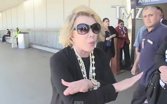 Joan Rivers speaks to TMZ about Israel's Gaza operation, July 2014. (photo credit: YouTube screen capture)
