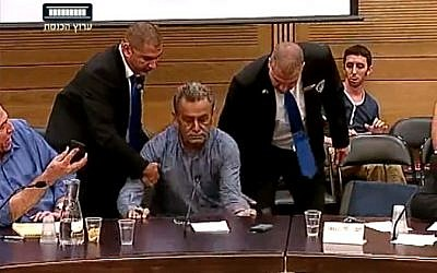 Balad party chairman MK Jamal Zahalka is removed from a Knesset committee meeting after insulting Police Commissioner Yohanan Danin, July 14, 2014. (screen capture:YouTube/Knesset Channel)