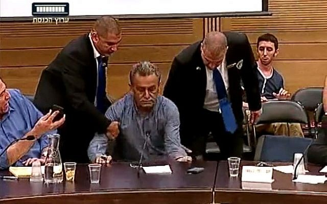 Balad party chairman MK Jamal Zahalka is removed from a Knesset committee meeting after insulting police commissioner Yohanan Danino, July 14, 2014. (screen capture: YouTube/Knesset Channel)