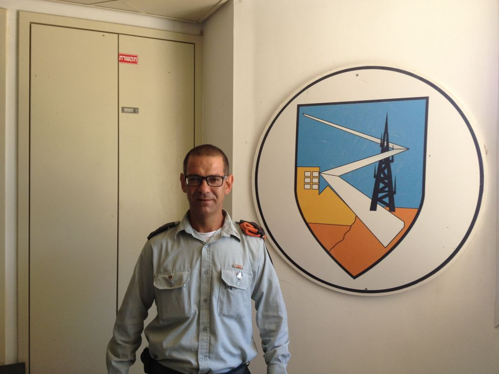 Lt. Col. Levi Itach at IDF Home Front Command headquarters (photo credit: Mitch Ginsburg/ Times of Israel)