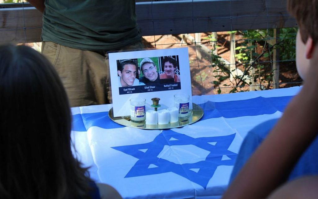 A memorial display paying tribute to the three murdered Israeli teens at Camp Solomon Schechter in Olympia, Wash. (Josh Niehaus/via JTA)