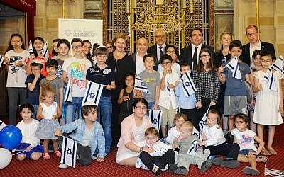 French Jewish children before their immigration to Israel participate in a farewell event in Paris along with Jewish Agency Chairman Natan Sharansky and Minister of Aliyah and Immigrant Absorption Sofa Landver, July 2014. (Photo credit: Erez Lichtfeld)