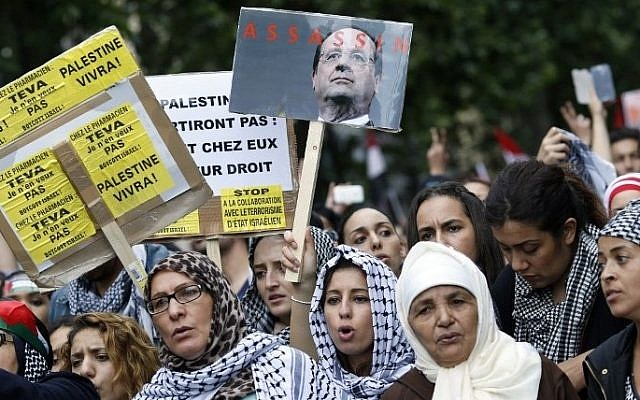 """Protesters hold placards calling for the boycott of Israel and one depicting French president Francois Hollande with the word """"assassin"""", on July 13, 2014 in Paris, (photo credit: KENZO TRIBOUILLARD / AFP)"""