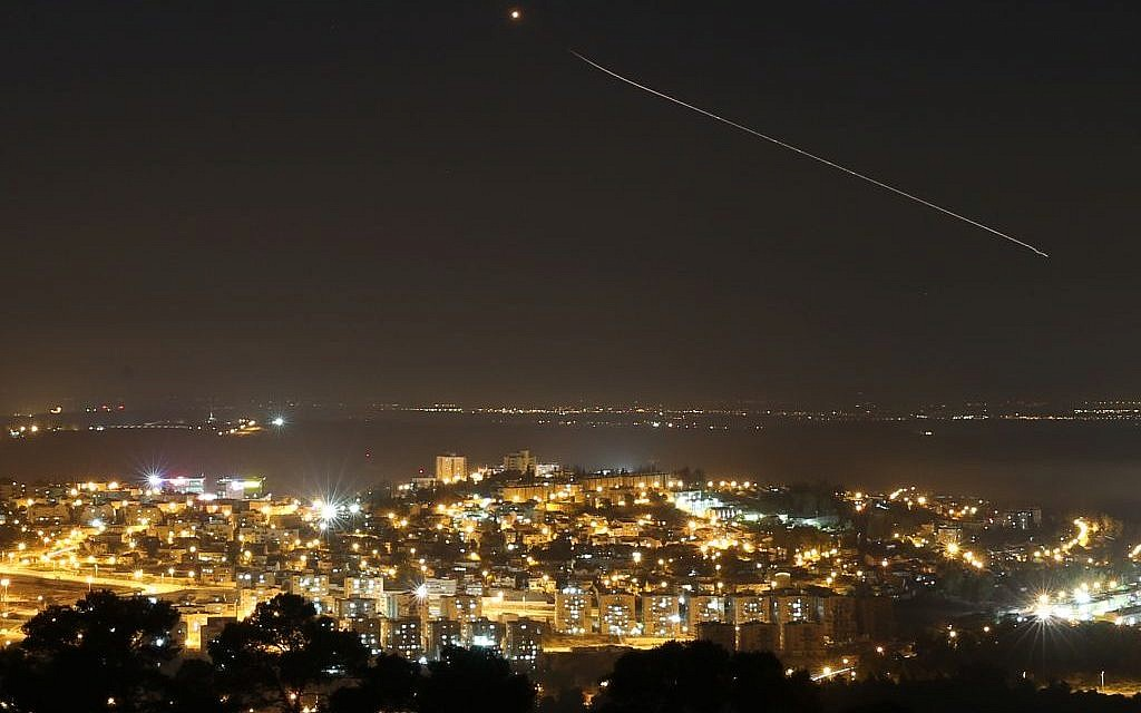 The Iron dome in action over central Israel on July 08, 2014 (photo credit: Nati Shohat/Flash90)