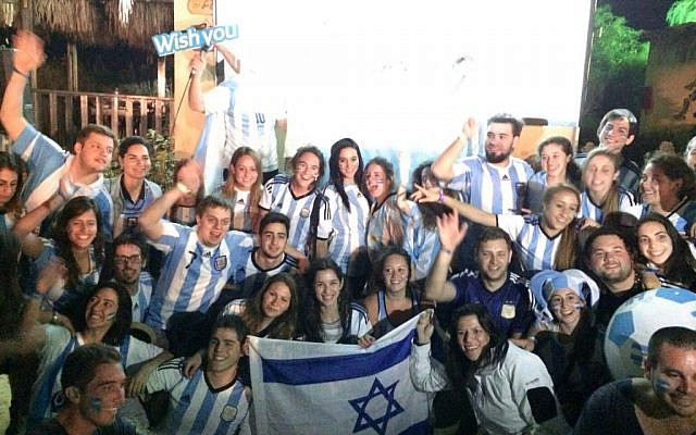 Argentinians in Israel on the Taglit Birthright program about to watch the World Cup finals on July 13. (photo credit: Taglit)