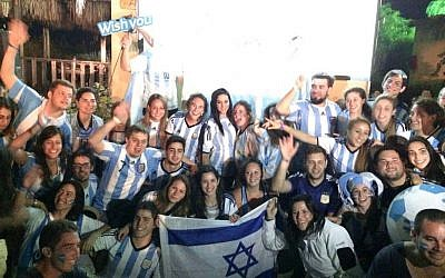 Argentinians on Birthright watch their team lose from Taglit Village in the Negev (Courtesy Taglit)