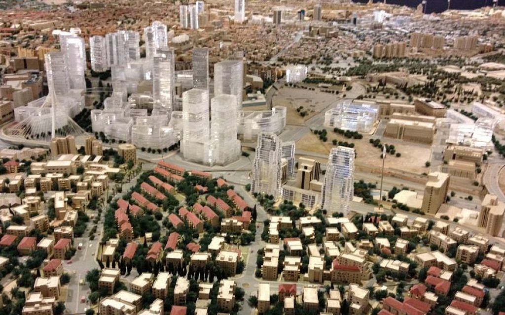 The lucite towers of Jerusalem, as depicted in this large-model of Jerusalem, maintained by the  Jerusalem Center for Planning in Historic Cities in the municipality (photo credit: Jessica Steinberg/Times of Israel)