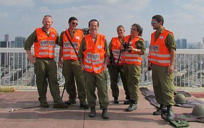 The Tel Aviv team on their rooftop. (photo credit: Debra Kamin/Times of Israel)
