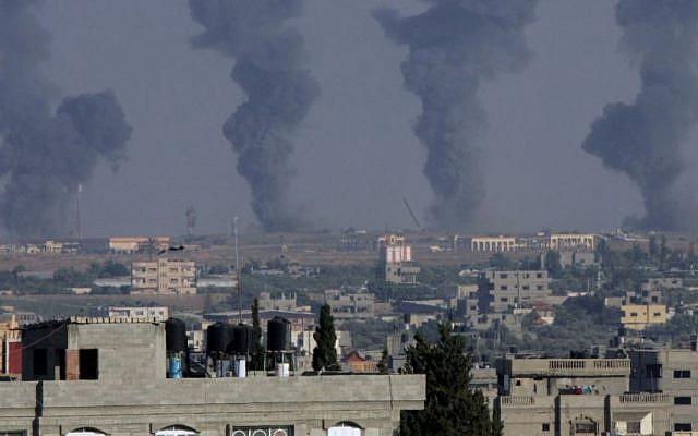 Black smoke rises following an Israeli air strike on the Gaza International Airport in Rafah, southern Gaza, on July 7, 2014. Photo: Abed Rahim Khatib/Flash90
