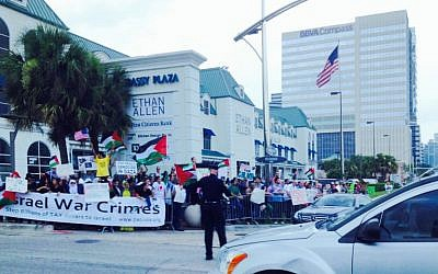 Anti-Israel rally in Houston, Texas, July 20, 2014. (Miriam A. Shaviv/The TImes of Israel)