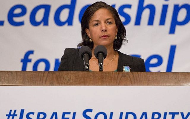 National Security Advisor Susan Rice addresses a solidarity with Israel gathering in Washington, DC, organized by the Conference of Presidents of Major Jewish Organizations, July 29, 2014. (photo credit: Ron Sachs)