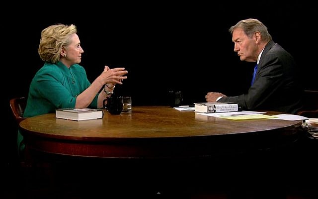 Hillary Clinton speaks with Charlie Rose on Thursday, July 17, 2014, about Israel's imminent ground invasion into Gaza. (photo credit: YouTube screenshot)
