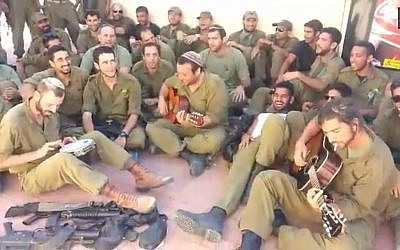 'We will yet return to Gush Katif' sings this group of reserves along the Gaza border. (YouTube screenshot)