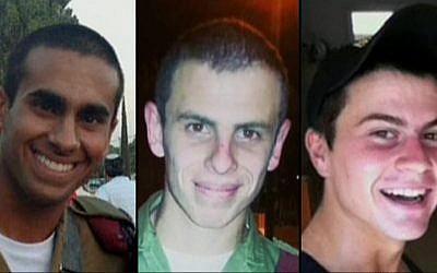 From left to right: Lieutenant Paz Elyahu, 22, Staff Sergeant Shahar Dauber, 20, Staff Sergeant Li Mat, 19, who were killed in Gaza on Wednesday, June 23, 2014