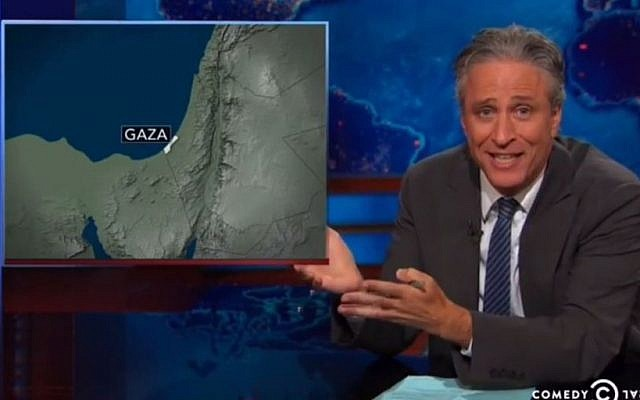 Jon Stewart: Gaza on the map (YouTube screenshot)