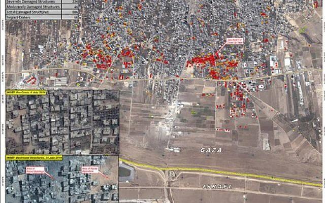 UN satellite imagery of damage in Shejaiya in Gaza City (photo credit: UNITAR)
