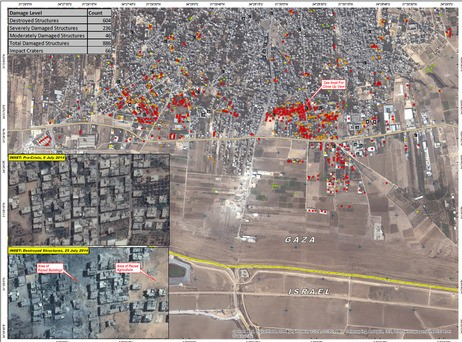 UN satellite imagery of damage in Shejaiya in Gaza City (photo credit: UNITAR)