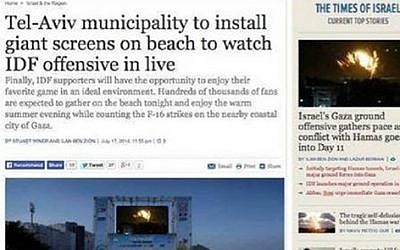 A doctored 'screenshot' of The Times of Israel's homepage, purporting to show the Israel Air Force raids on the Gaza Strip being screened on a beach in Tel Aviv. (screen capture)