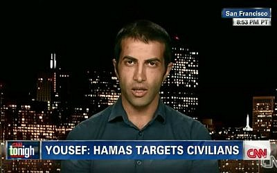Mosab Hassan Yousef during an interview with CNN, July 2014. (screen capture: YouTube/Yaron Haklai)