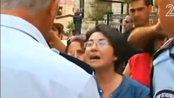 Balad MK Hanin Zoabi protesting at a Haifa demonstration against the IDF's operation in the Gaza Strip (photo credit: Channel 2 screen capture)