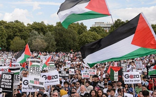 Pro-Palestinian demonstrators hold placards and wave Palestinian flags at a mass rally against Israel in London on Saturday, August 9, 2014. (photo credit: Leon Neal/AFP)