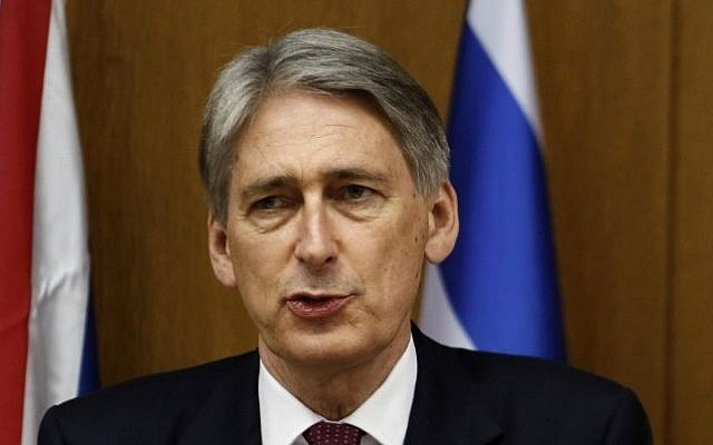 FILE: British Foreign Secretary Philip Hammond speaks during a joint press conference with Prime Minister Benjamin Netanyahu on July 24, 2014, at the Knesset. (photo credit:  Gali Tibbon/AFP)