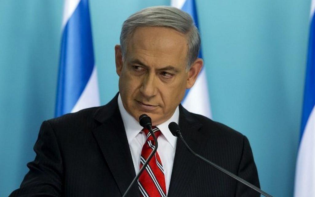 Prime Minister Benjamin Netanyahu speaks at a press conference at his Jerusalem office, on August 6, 2014. (Photo credit: AFP/Jim Hollander/Pool)