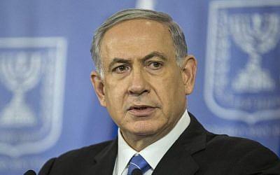 Israeli Prime Minister Benjamin Netanyahu delivers a statement on August 20, 2014 in Tel Aviv. (photo credit: AFP/JACK GUEZ)