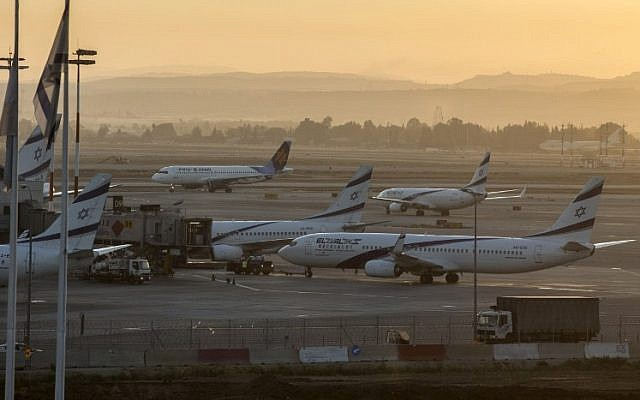 File: Planes sit on the tarmac at Ben Gurion International airport, near Tel Aviv, on August 21, 2014. (AFP/Jack Guez)