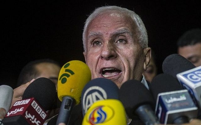 Azzam al-Ahmad gives a press conference at a hotel in Cairo, August 13, 2014. (photo credit: AFP/Khaled Desouki)