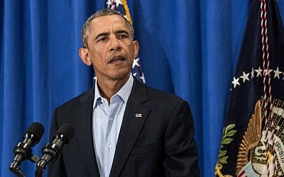 US President Barack Obama makes a statement at Martha's Vineyard, Massachusetts, on August 20, 2014. (photo credit: AFP Photo/Nicholas Kamm)