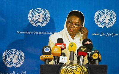 United Nation's Under-Secretary-General for Humanitarian Affairs and Emergency Relief Coordinator, Valerie Amos during a press conference on August 17, 2014 in Tehran. (photo credit: AFP/BEHROUZ MEHRI)