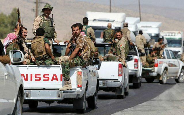 Illustrative photo of Iraqi Kurdish peshmerga fighters near the northern Iraqi city of Mosul, August 17, 2014 (AFP/Ahmad al-Rubaye)