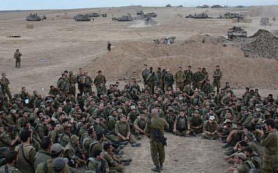 Col. Ghassan Alian, the commander of the Golani Brigade, addressing IDF troops in Gaza, August 2014. Alian was lightly injured during fighting in Shejaiya (photo credit: IDF Spokesperson's Unit/ Flickr)