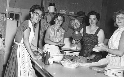 In the 1950s, during the heyday of this Catskills bungalow colony, 10 women shared the single kitchen. (Courtesy Paula Goldberg via JTA)