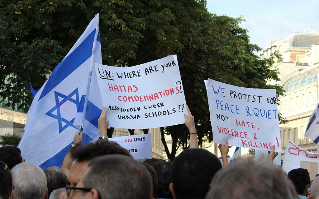 'UN: Where are your condemnations' sign at the pro-Israel rally on July 31, 2014. (Glenn Cloarec/The Times of Israel)