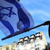 Illustrative: The pro-Israel rally on July 31, 2014 took place outside Paris's Israeli embassy. (Glenn Cloarec/The Times of Israel)
