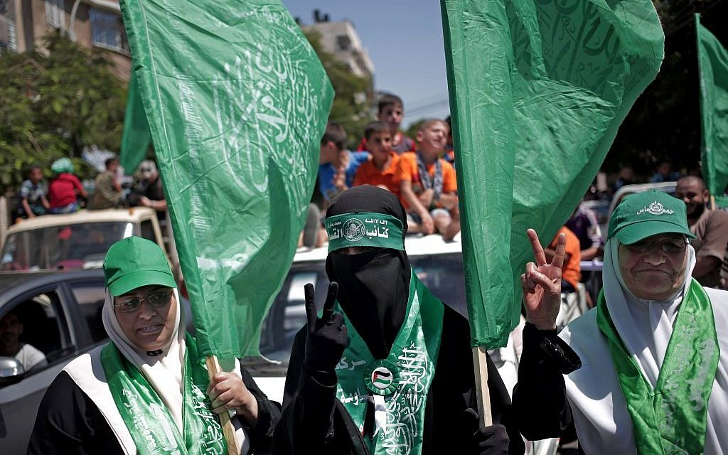 Palestinian Hamas supporters gather for a rally in Gaza City, August 7, 2014 (photo credit: AP/Khalil Hamra)