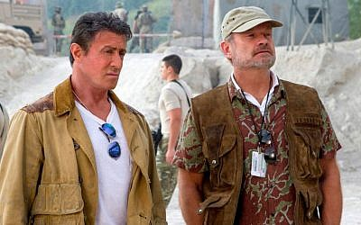 Sylvester Stallone (left) and Kelsey Grammer in a scene from 'Expendables 3,' August 2014 (photo credit: AP/Lionsgate, Phil Bray)