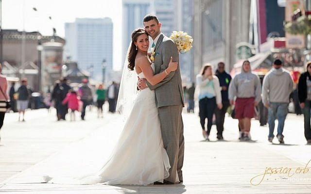 Allison Greenberg and Eli Epstein on their wedding day. (photo credit: Jessica Erb/Courtesy)