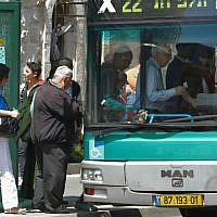 Illustrative: Passengers boarding an Egged bus in Jerusalem. (Nati Shohat/Flash90)