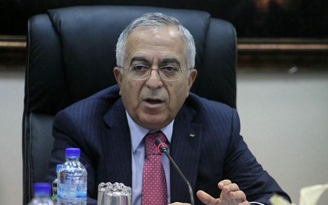 Former Palestinian prime minister Salam Fayyad, seen here when still in office, heads a cabinet meeting in the West Bank city of Ramallah, April 16, 2013. (Issam Rimawi/Flash90)