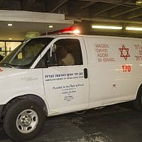 Illustrative: A Magen David Adom ambulance. (Yonatan Sindel/Flash90)