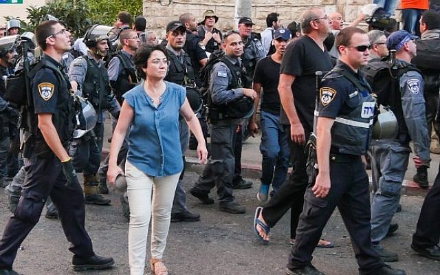 MK Hanin Zoabi takes part in a protest against Operation Protective Edge in Gaza, in Haifa on July 18, 2014. (Photo credit: Flash90)