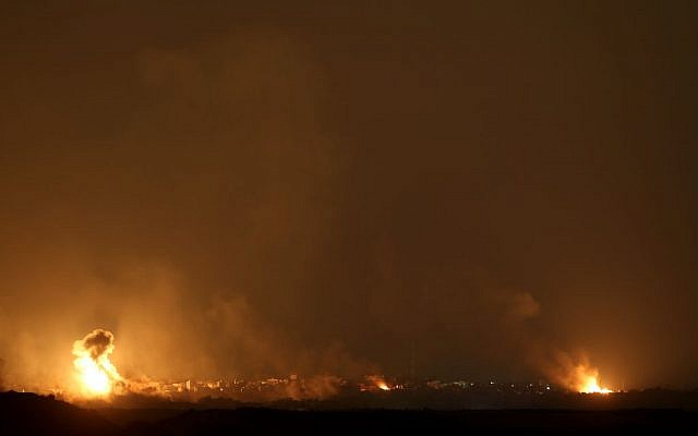 Israeli Air Force bombings in the Gaza Strip as seen from the Sderot area in Southern Israel, on July 19, 2014. (photo credit: Nati Shohat/Flash90/file)