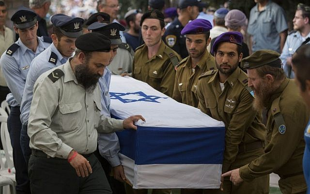 Hadar Goldin's funeral, Sunday, August 3, 2014. (photo credit: Yonatan Sindel/Flash90)