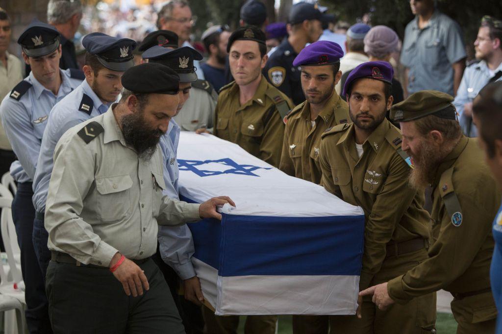 Hadar Goldin's funeral, Sunday, August 3, 2014. (photo credit: Yonatan Sindel/Flash90)