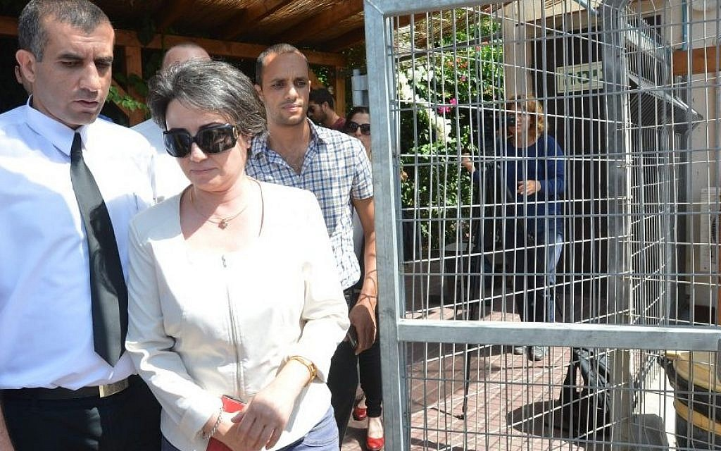 "Israeli Arab MK Haneen Zoabi seen leaving the ""Lahav 443"" unit of the Israel Police on August 11, 2014, where she was questioned over incitement to violence (photo credit: Flash90)"